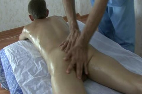 young skinny Russian Teenboy - bushy penis - Oil Massage!