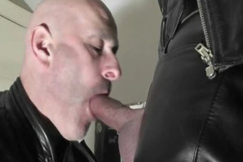 Hungry Biker P*g Came Over For A taste Of Leather And cock