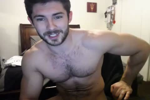 attractive hairy Hunky Doing A web camera Show.