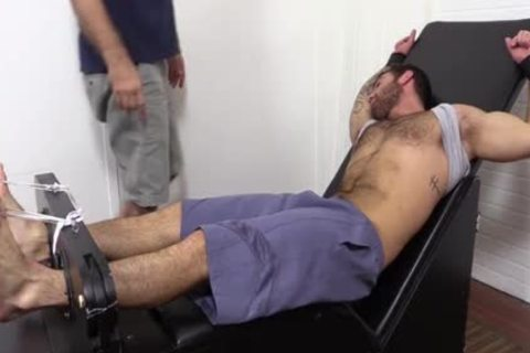 Flaming brunette hair hair Hunk tied Up And Getting Foot Tortured For pleasure HD foul Taped - SpankBang