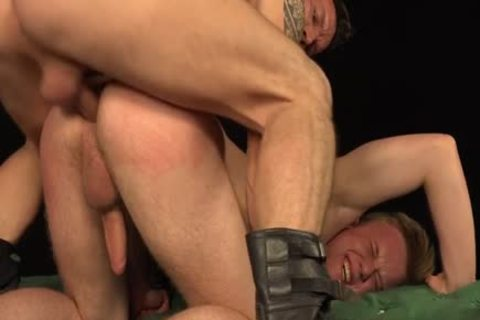 Tattoo homosexuals thrashing With cumshot