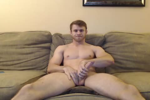 handsome lad Jerks His big White cock And Rides A big dildo