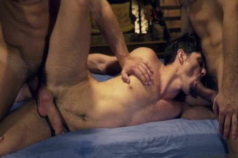 Muscle homosexual three-some With Facial cum